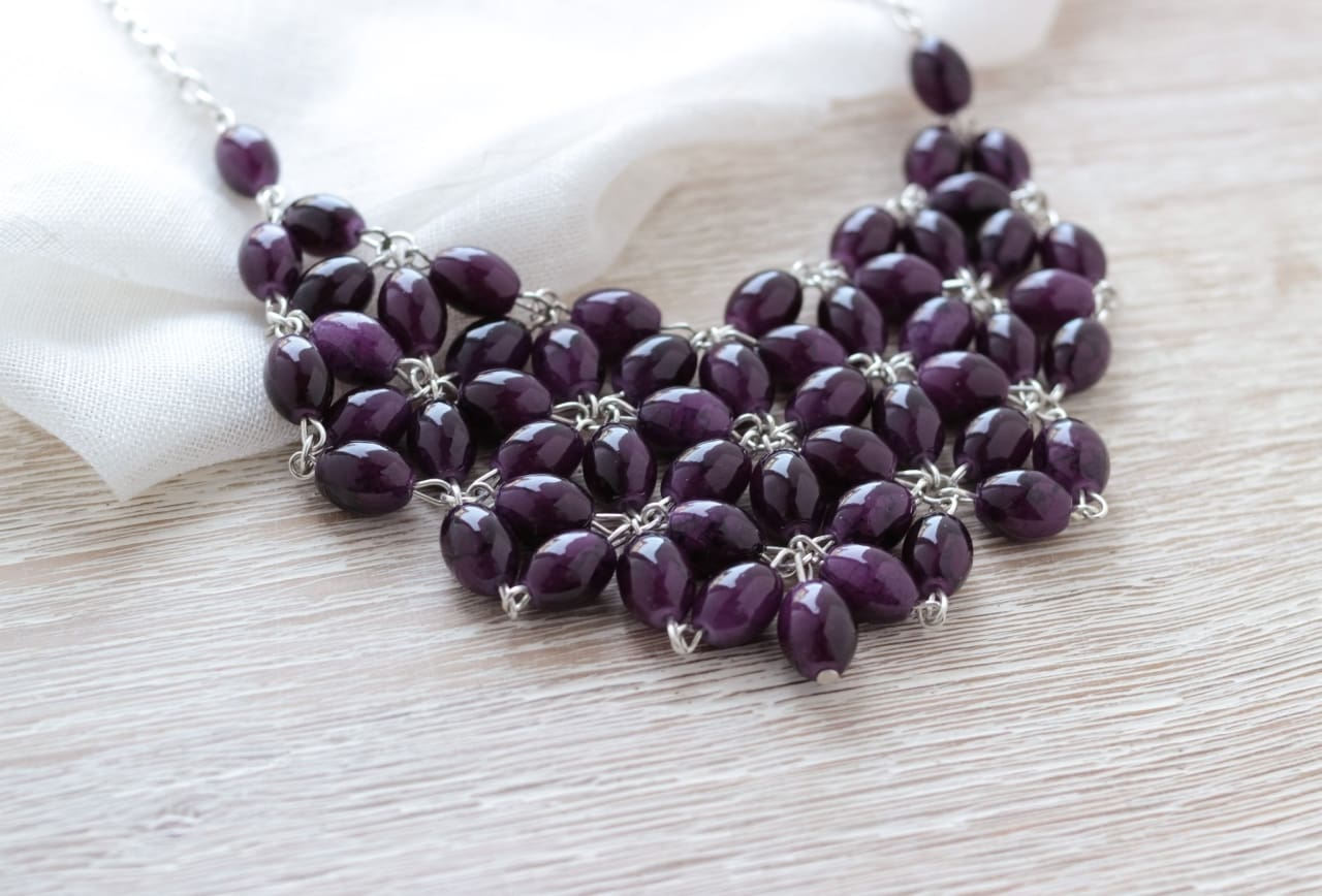 Handcrafted Chunky Necklace Arden Lilac - Vasylchenko1