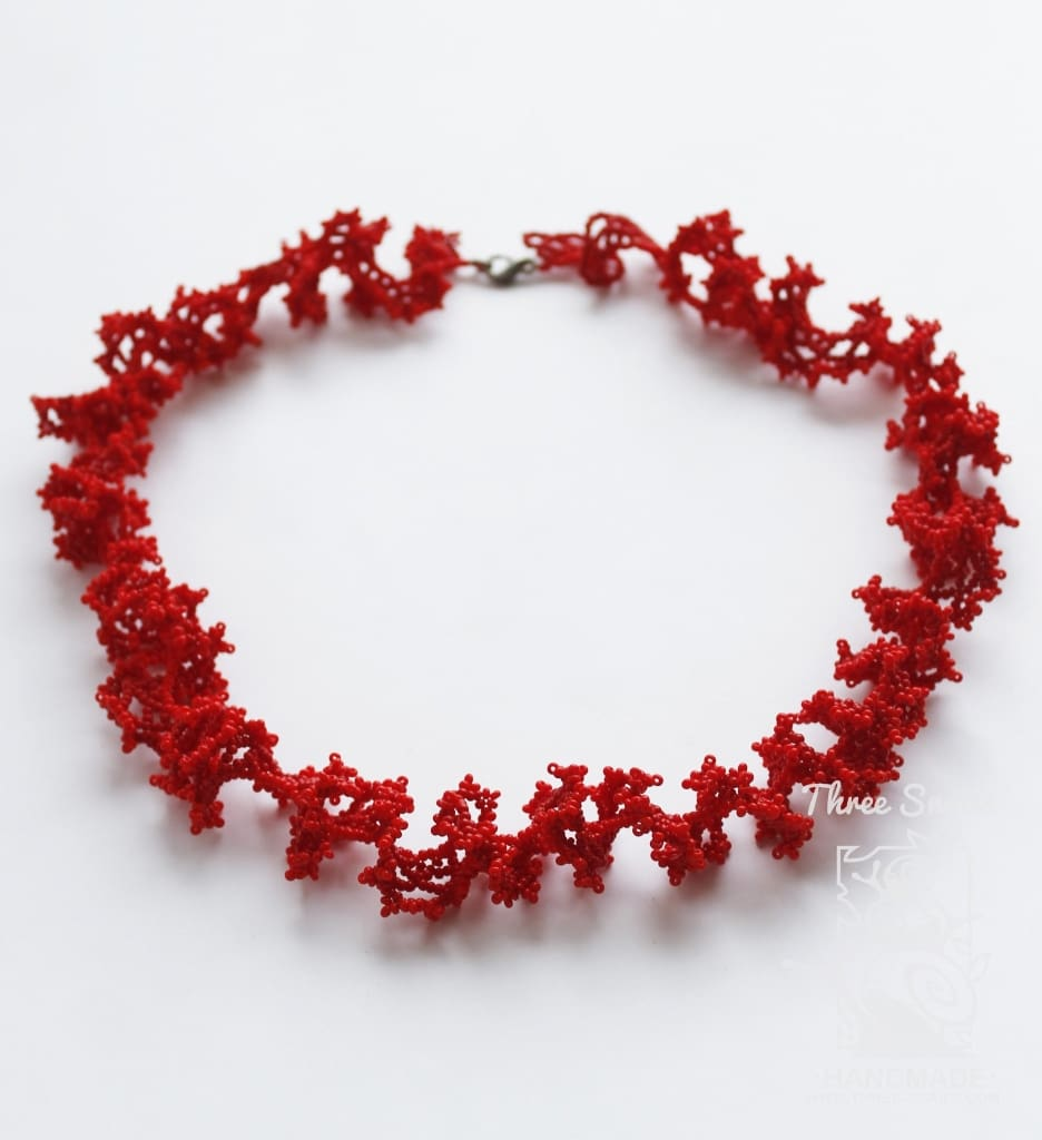 "Handmade beaded necklace ""Coral beads"" - 1"
