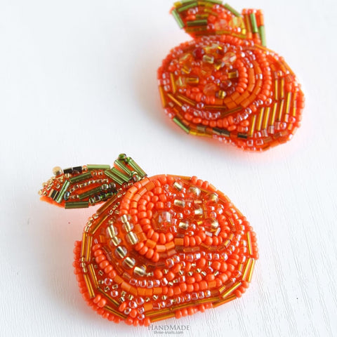 Handmade Brooch - Mandarin Orange. Set Of 2 Pcs - Vasylchenko1