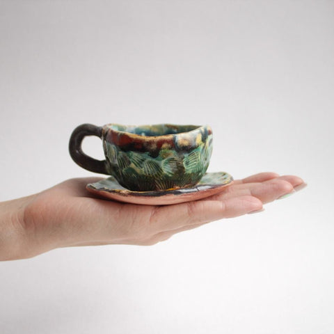 Handmade Ceramic Coffee Cup Sea Shell - Cup And Mug