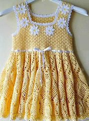 Handmade Crocheted Dress Daisy - Baby Clothes