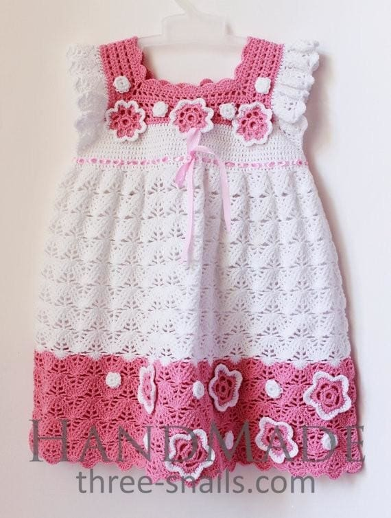 bright knitted baby dress