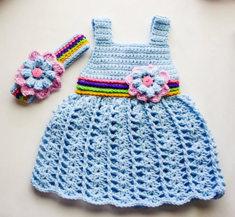Handmade Crocheted Dress With A Bandage Floret - Baby Clothes