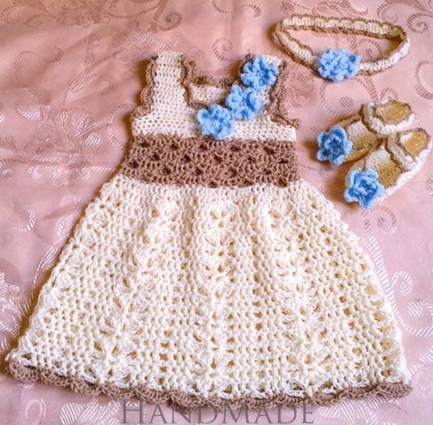 Handmade Crocheted Set Forget-Me-Not - Baby Clothes