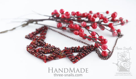 Handmade Necklace Pomegranate Juice - Melnichenko1