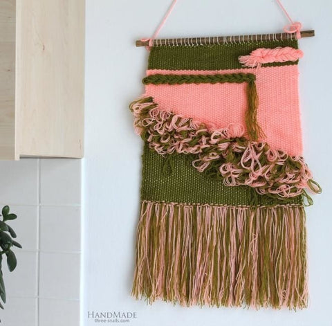 Handmade Wall Decor Pink-Green Hanging - Vasylchenko1