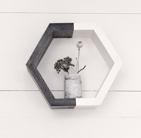 Hexagon Wooden Shelf White Black - Vasylchenko1