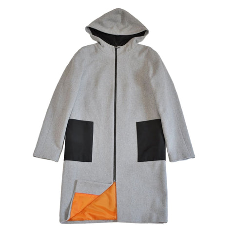 Hooded Wool Coat Grey & Orange - Vasylchenko1