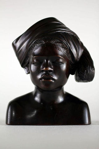 Indonesian Woman Carved Wood Sculpture - Figurine