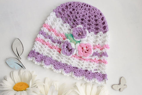Infant Crochet Hat Violet Patterns - Baby Clothes