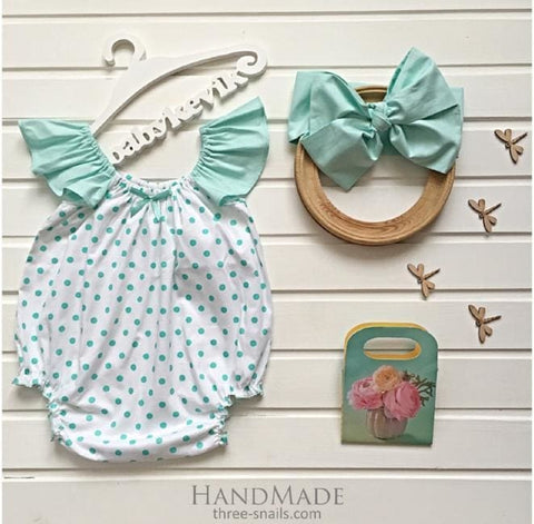 Infant Girl Minty Dots Romper With Headpiece - Baby Clothes