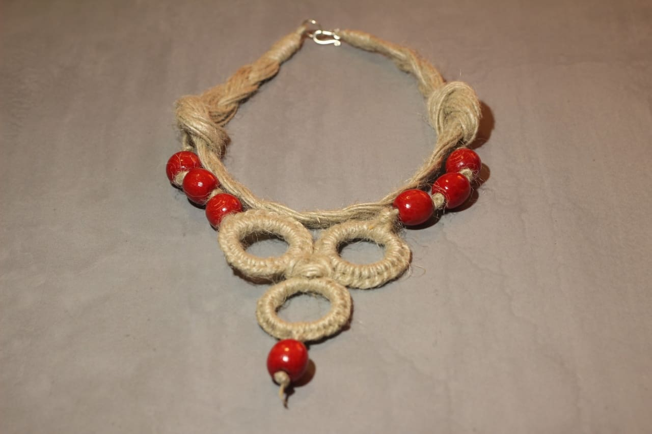 Jute Wooden Necklace Ethno - Melnichenko1