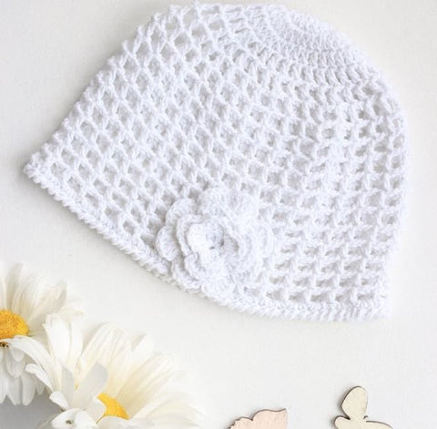 Knitted Baby Hats White Flower - Baby Clothes