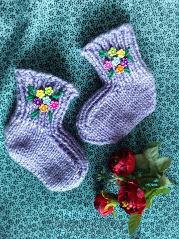 Knitted Baby Socks Lilac - Baby Clothes