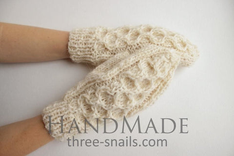 Knitted Handmade Mittens Snow Time - Beige / Us - Baby Clothes
