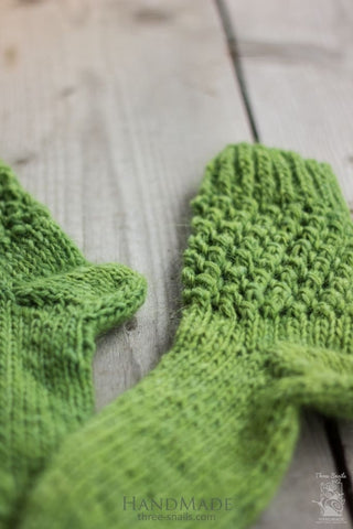 Knitted Handmade Socks Green - Baby Clothes