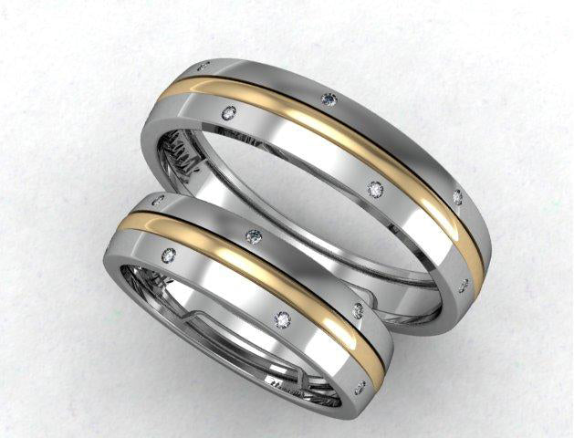 Modern gold wedding band for her - 2