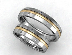 Modern gold wedding band for him - 2