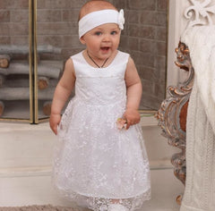 Lace Baby Girl Dress - Baptism Outfit