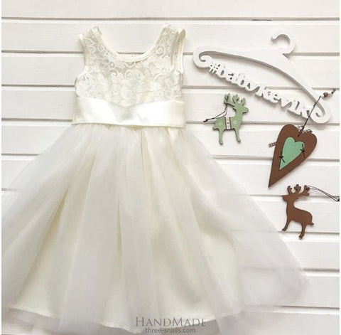 Lace White Dress For Girls - Baby Clothes