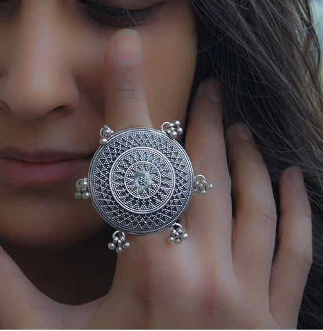 Large Indian Silver Ring - Ring