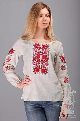 Long Sleeve Blouse Red Rose Story - Melnichenko1
