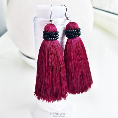 Marsala Beaded Tassel Earrings - Earrings