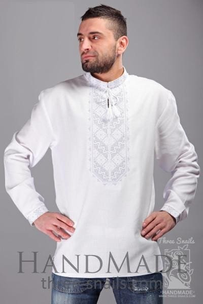 "Men's white long sleeve shirt ""Immaculacy"" - 1"