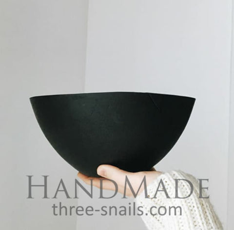 Modern Large Wooden Bowl Black - Vasylchenko1