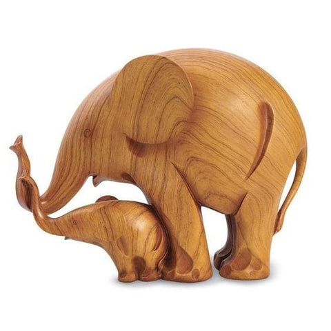 Mother And Baby Wood Elephant Sculpture - Figurine