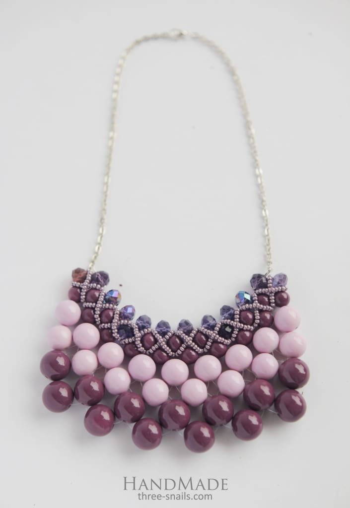 "Necklace of glass beads ""Blackberry cocktail"" - 1"