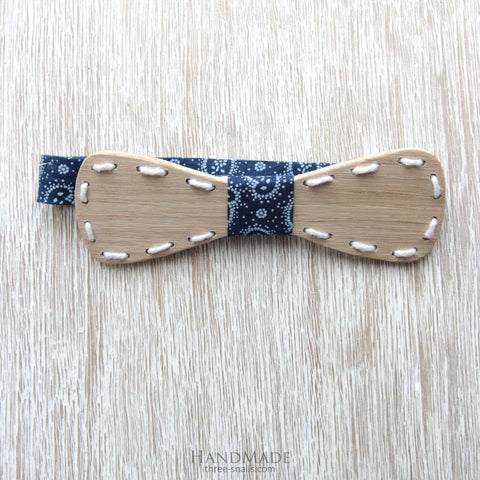 Oak Wood Bow Tie Blue Line - Melnichenko1