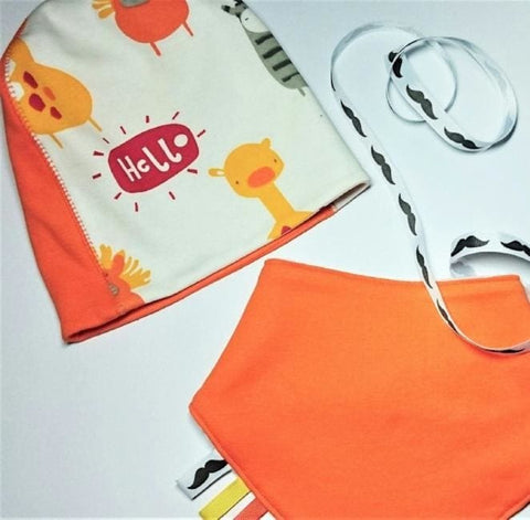 Orange Baby Hat With Personalized Bib Orange Mood - Baby Clothes