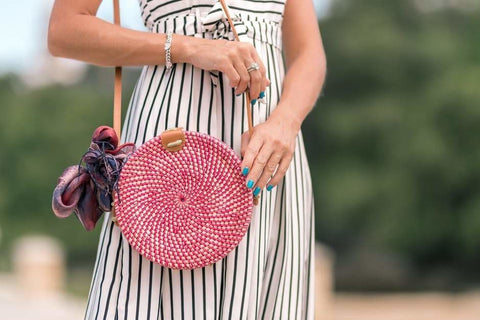 Pink Circle Rattan Crossbody Bag - Bag