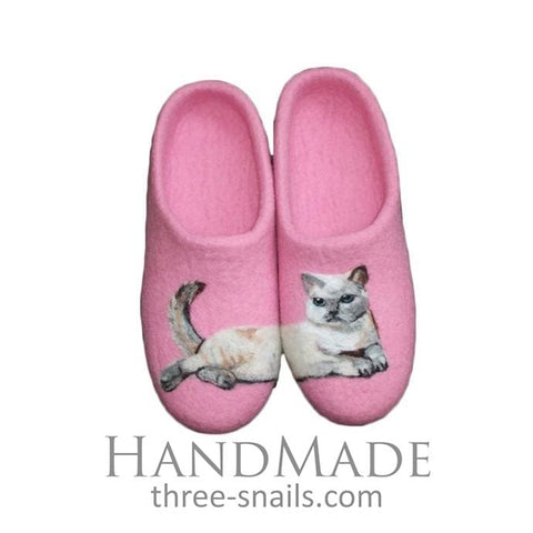 Pink Ladies Slippers Siamese Cat - Vasylchenko1