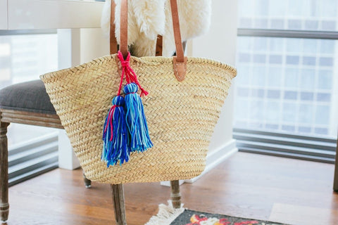 Pom Poms Tassel Basket Beach Wicker Bag - Bag