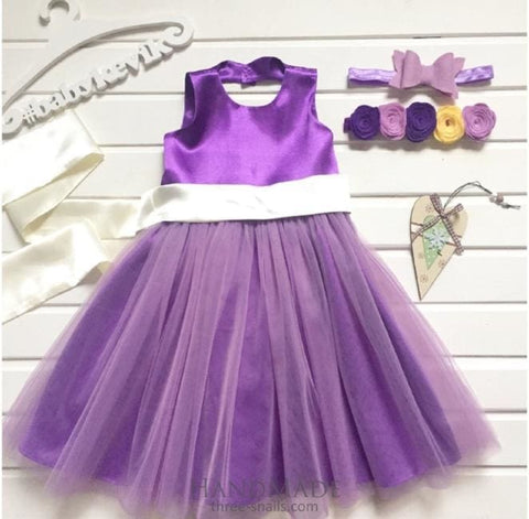 Purple Flower Girl Dress - Baby Clothes