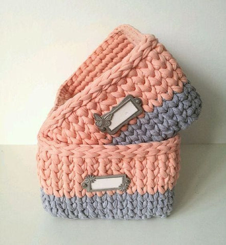 Rectangular Crochet Basket With Handles - Vasylchenko1