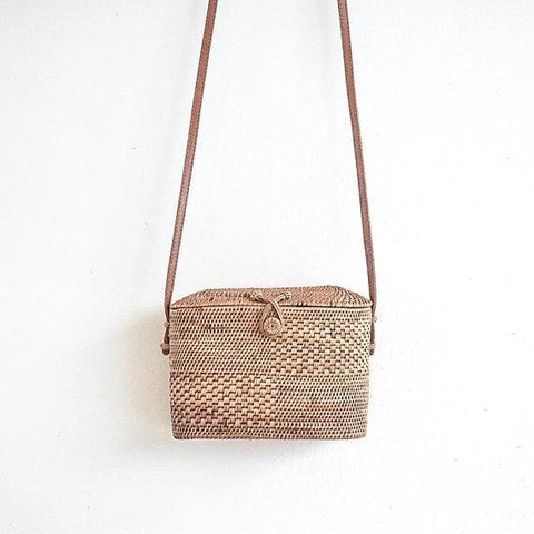 Rectangular Rattan Basket Crossbody Bag - Bag