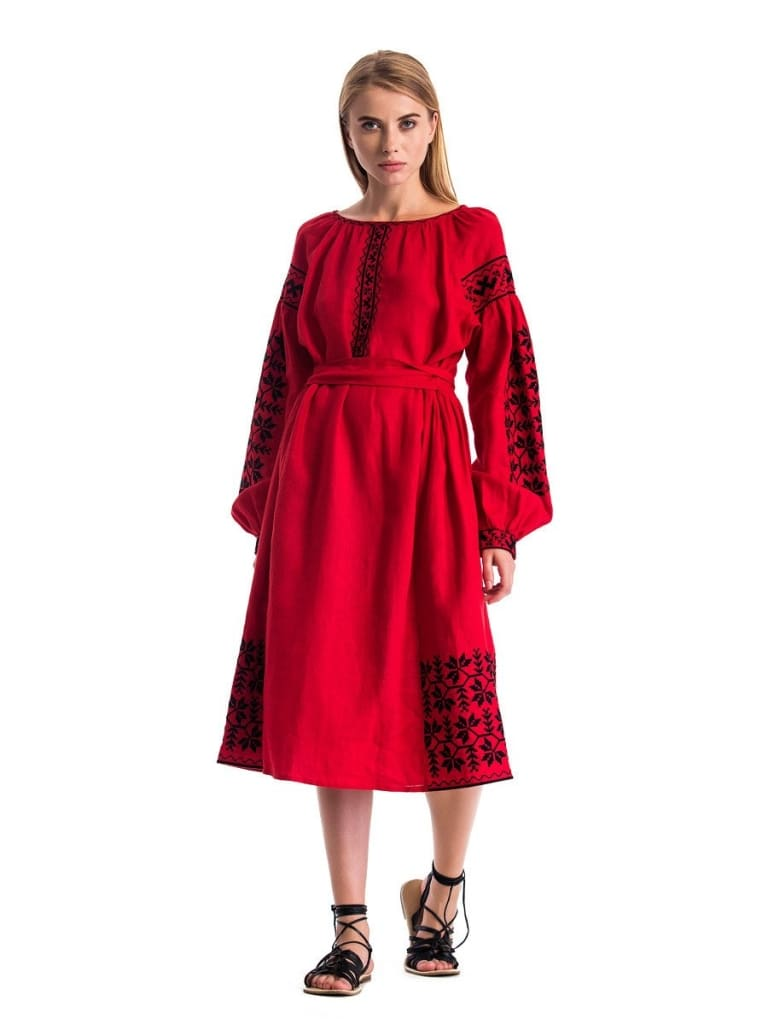 "Red embroidered dress ""Passion""  - 1"