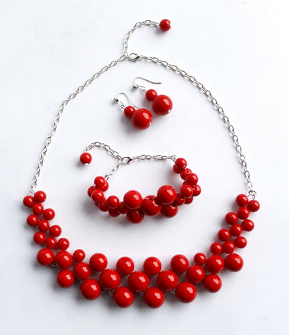 Red Necklace Set Barbara - Vasylchenko1