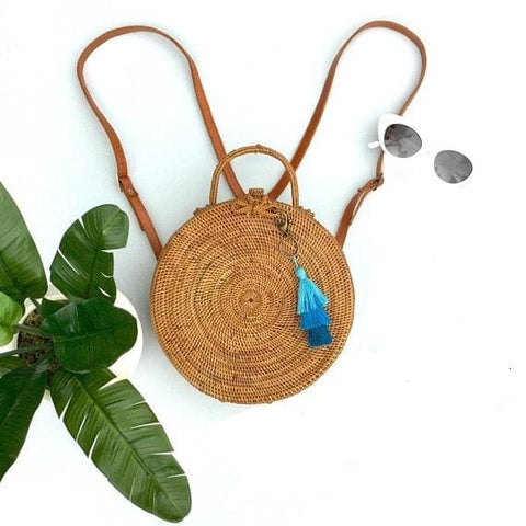 Round Ata Rattan Backpack - Bag