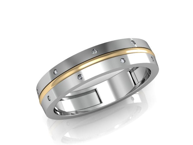 Pair of modern gold wedding bands with diamonds - 2