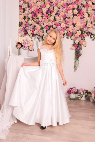 Satin White Dress For Girl Princess - Occasion Dress
