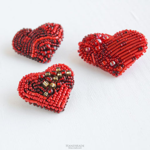 Set Of Brooches 3 Pieces Valentines Red Hearts - Vasylchenko1