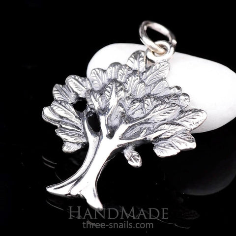Silver Pendant Tree With Leaves - Vasylchenko1