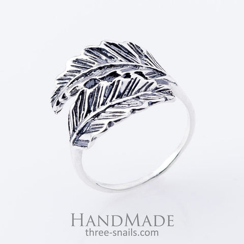 Silver Ring Two Feathers - Vasylchenko1