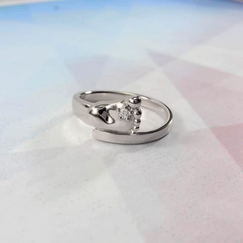 Silver Ring With Cubic Zirconia Stone Baby Foot - Vasylchenko1