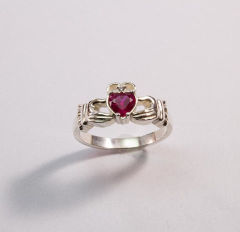 Sterling Silver Jewelry. Irish Ring Pink Heart - Vasylchenko1