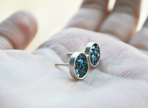 Stud Earrings With Volcanic Glass - Vasylchenko1